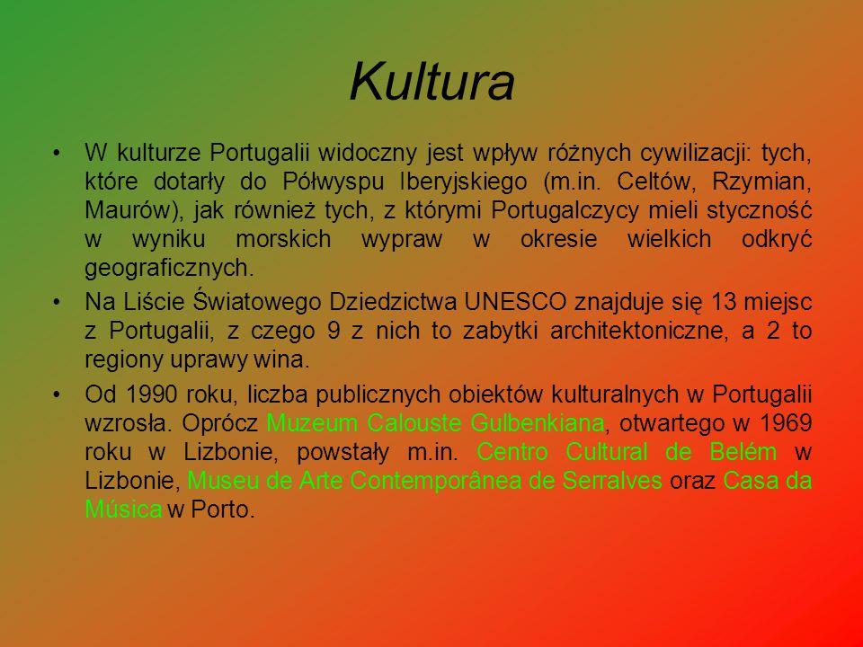 Kultura W kulturze Portugalii widoczny jest wpływ różnych cywilizacji: tych, które dotarły do Półwyspu Iberyjskiego (m.in. Celtów, Rzymian, Maurów), j