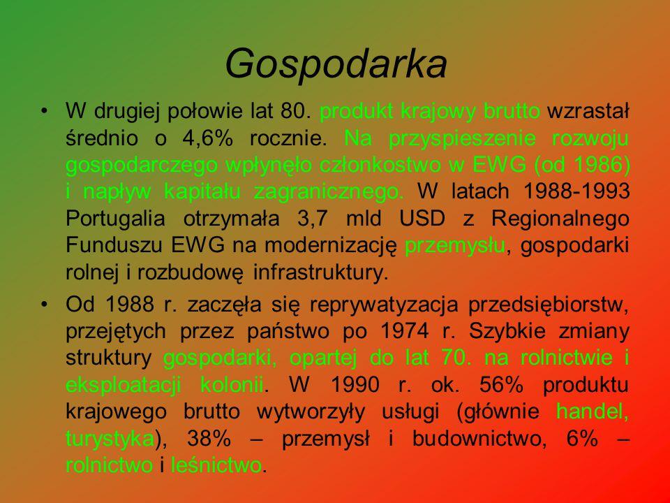 Gospodarka W drugiej połowie lat 80. produkt krajowy brutto wzrastał średnio o 4,6% rocznie. Na przyspieszenie rozwoju gospodarczego wpłynęło członkos