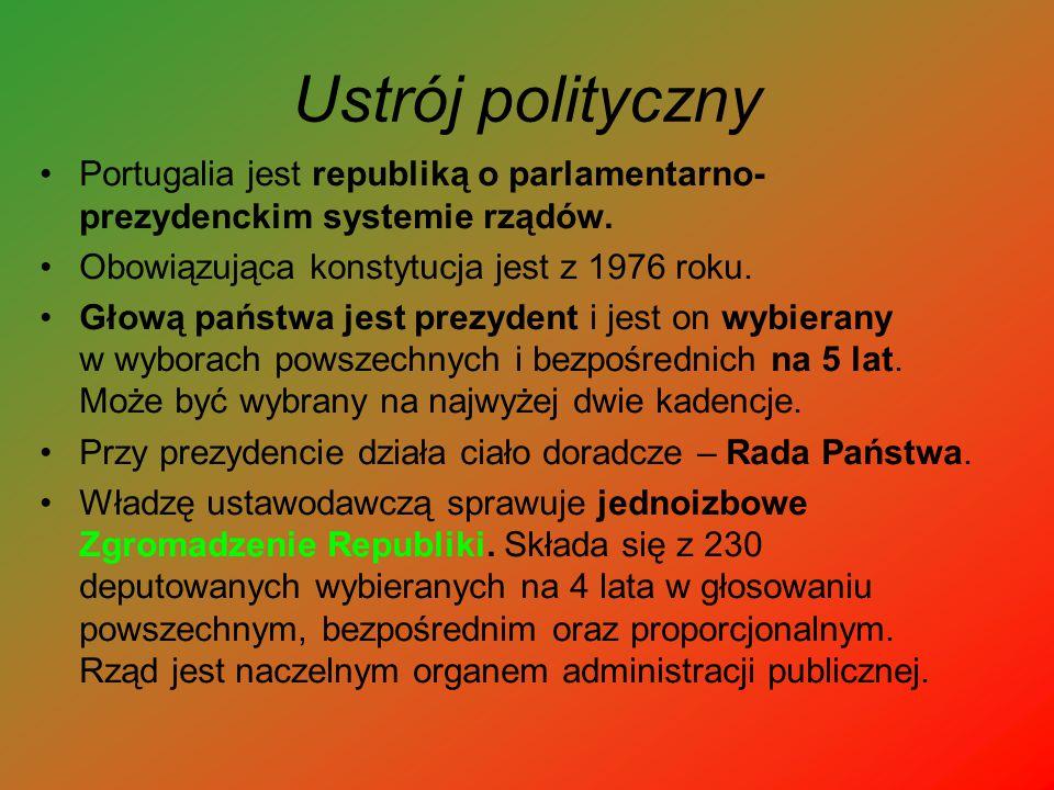 Ustrój polityczny Portugalia jest republiką o parlamentarno- prezydenckim systemie rządów. Obowiązująca konstytucja jest z 1976 roku. Głową państwa je