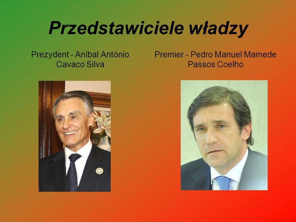 Przedstawiciele władzy Prezydent - Aníbal António Cavaco Silva Premier - Pedro Manuel Mamede Passos Coelho