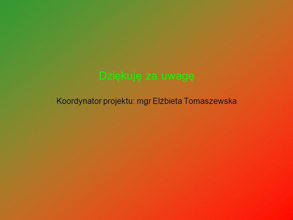 Dziękuję za uwagę Koordynator projektu: mgr Elżbieta Tomaszewska