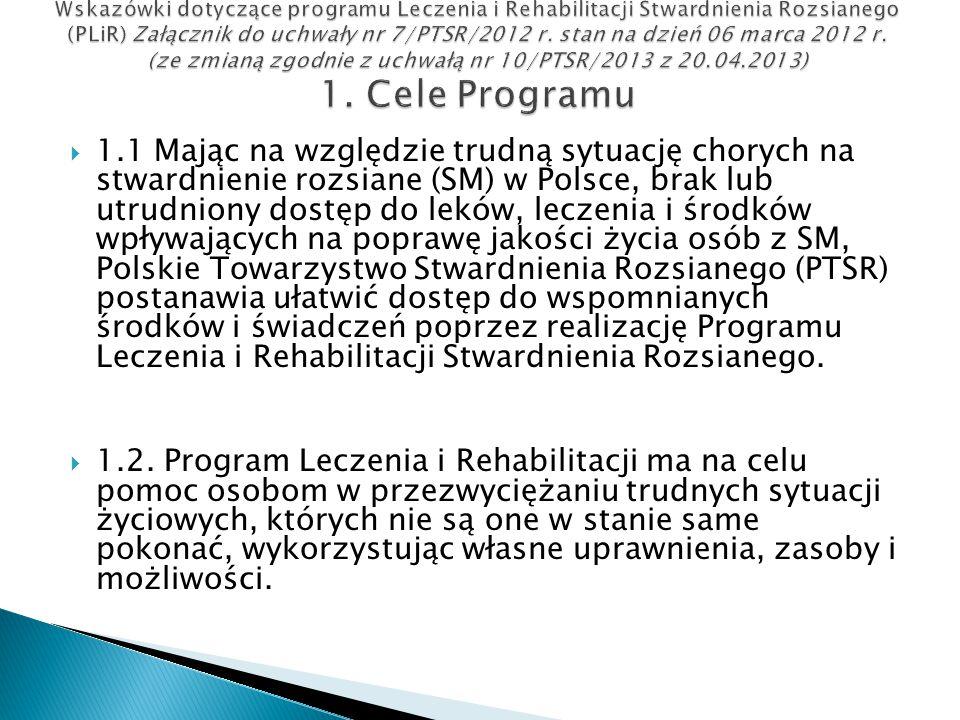  1.1 Mając na względzie trudną sytuację chorych na stwardnienie rozsiane (SM) w Polsce, brak lub utrudniony dostęp do leków, leczenia i środków wpływ