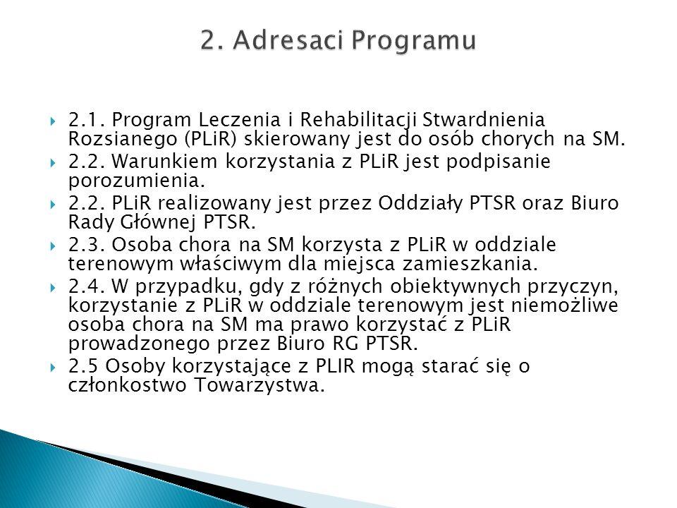  2.1. Program Leczenia i Rehabilitacji Stwardnienia Rozsianego (PLiR) skierowany jest do osób chorych na SM.  2.2. Warunkiem korzystania z PLiR jest