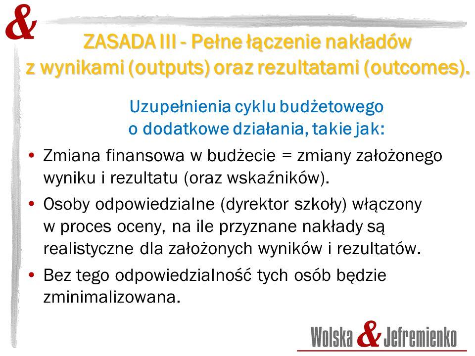ZASADA III - Pełne łączenie nakładów z wynikami (outputs) oraz rezultatami (outcomes).
