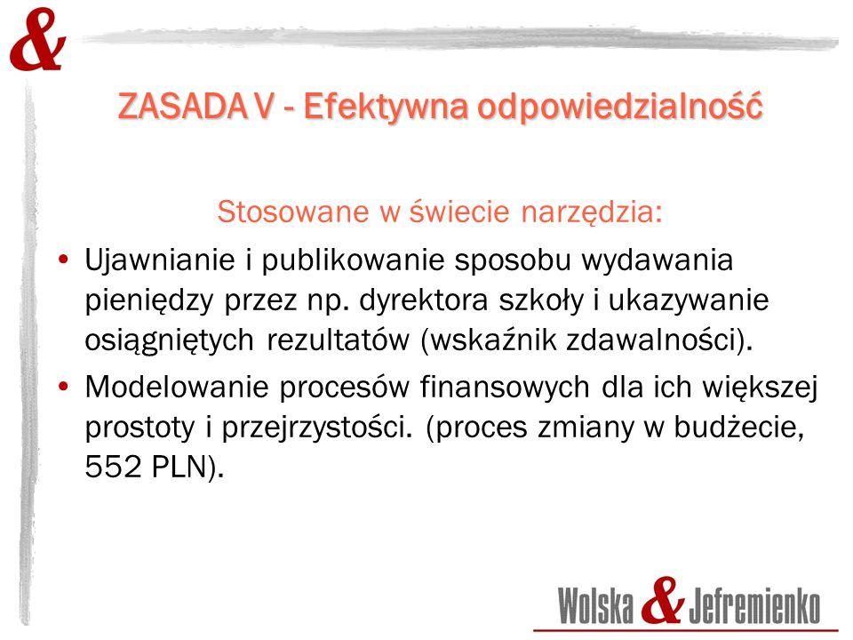 ZASADA V - Efektywna odpowiedzialność Stosowane w świecie narzędzia: Ujawnianie i publikowanie sposobu wydawania pieniędzy przez np.
