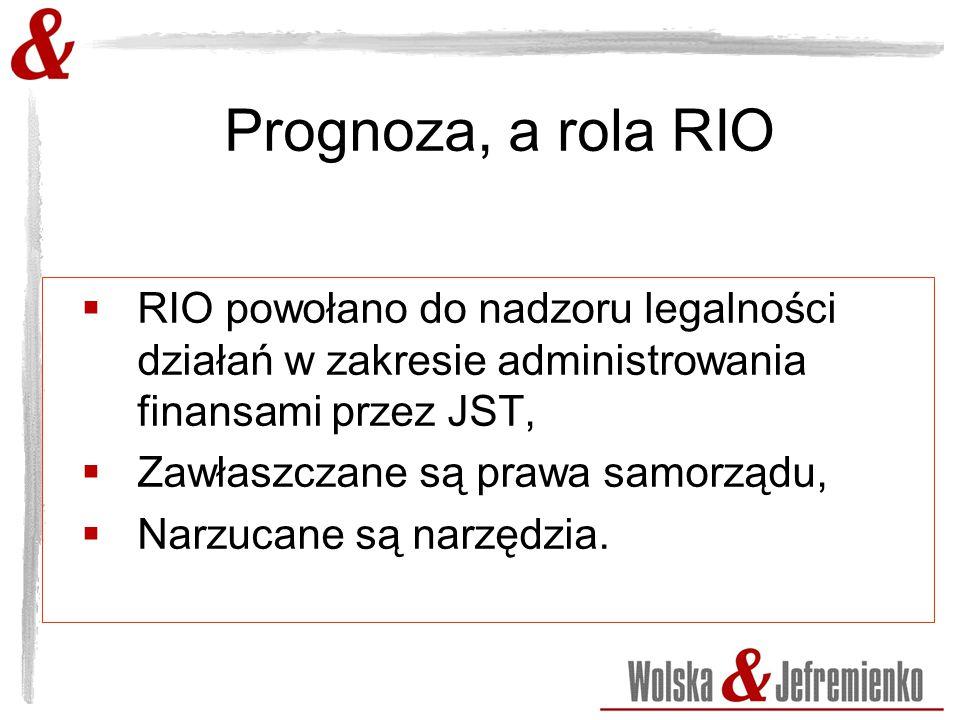 Prognoza, a rola RIO  RIO powołano do nadzoru legalności działań w zakresie administrowania finansami przez JST,  Zawłaszczane są prawa samorządu,  Narzucane są narzędzia.