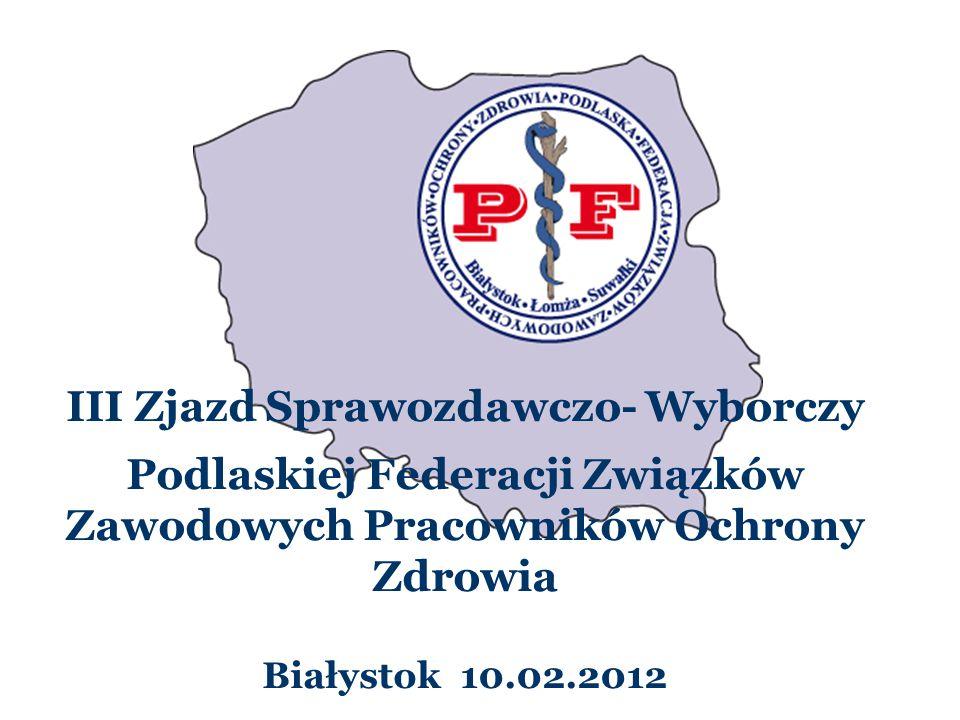III Zjazd Sprawozdawczo- Wyborczy Podlaskiej Federacji Związków Zawodowych Pracowników Ochrony Zdrowia Białystok 10.02.2012