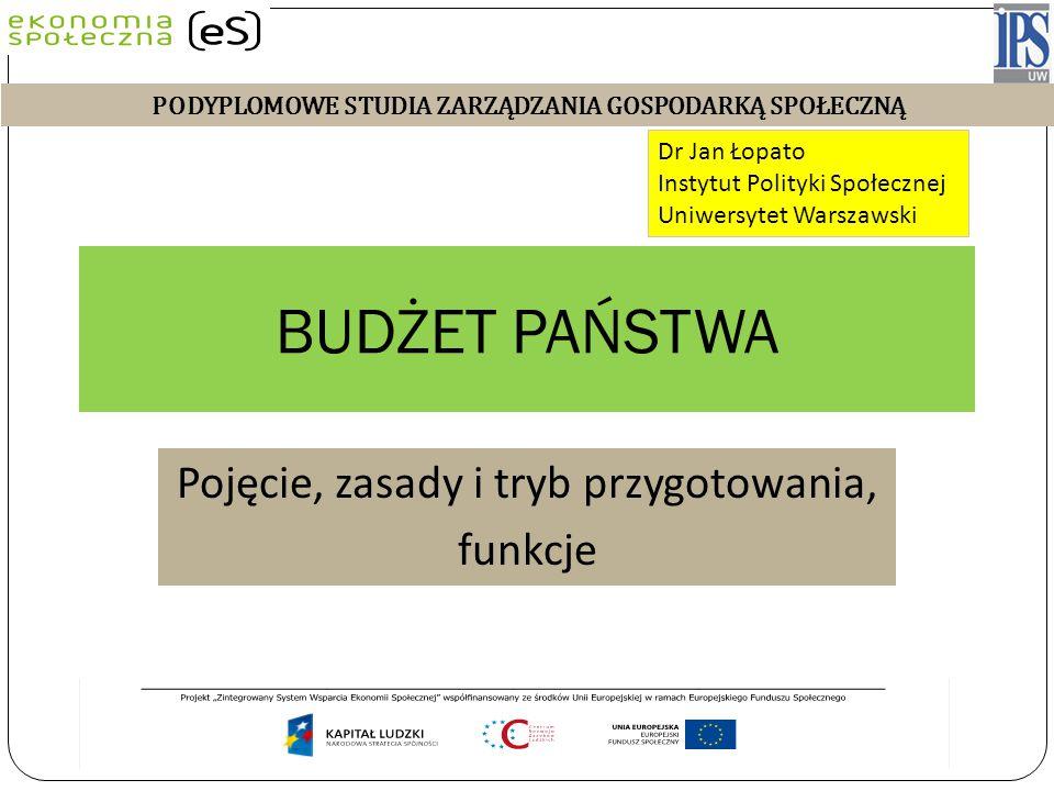 BUDŻET PAŃSTWA Pojęcie, zasady i tryb przygotowania, funkcje Dr Jan Łopato Instytut Polityki Społecznej Uniwersytet Warszawski Wykład 2011/2012 PODYPL
