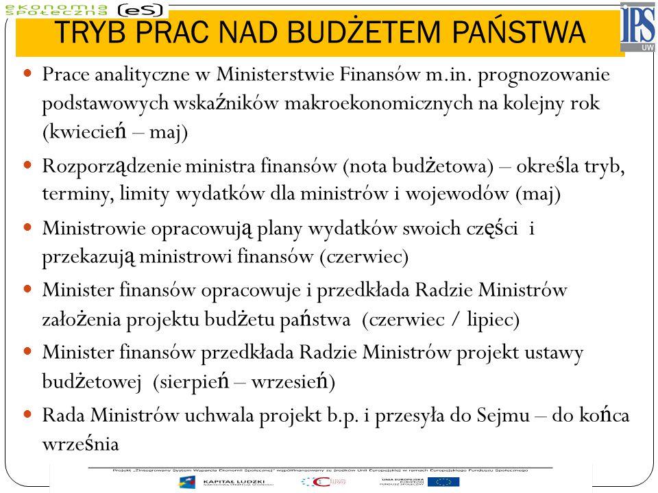 TRYB PRAC NAD BUDŻETEM PAŃSTWA Prace analityczne w Ministerstwie Finansów m.in. prognozowanie podstawowych wska ź ników makroekonomicznych na kolejny