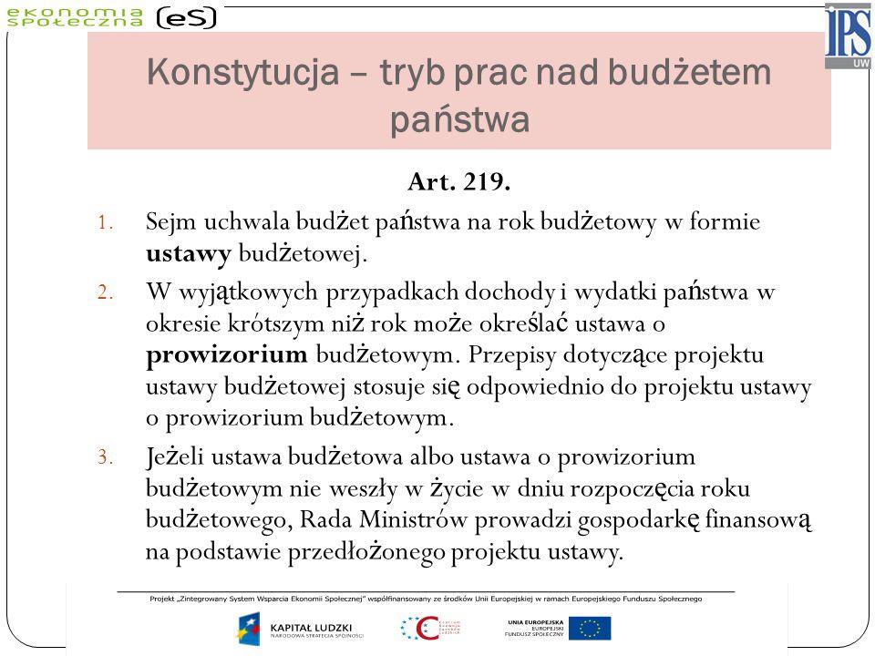 Konstytucja – tryb prac nad budżetem państwa Art. 219. 1. Sejm uchwala bud ż et pa ń stwa na rok bud ż etowy w formie ustawy bud ż etowej. 2. W wyj ą