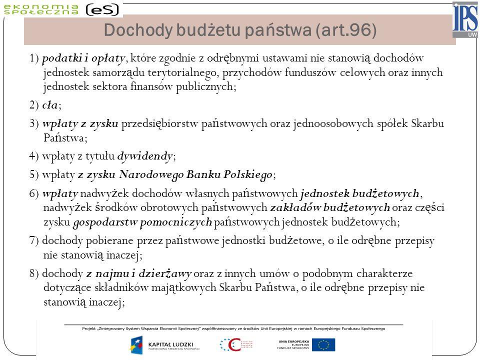 Dochody budżetu państwa (art.96) 1) podatki i opłaty, które zgodnie z odr ę bnymi ustawami nie stanowi ą dochodów jednostek samorz ą du terytorialnego