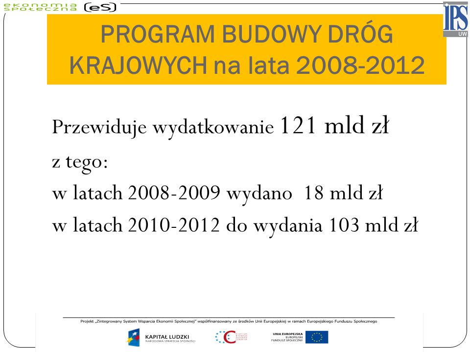 PROGRAM BUDOWY DRÓG KRAJOWYCH na lata 2008-2012 Przewiduje wydatkowanie 121 mld zł z tego: w latach 2008-2009 wydano 18 mld zł w latach 2010-2012 do w