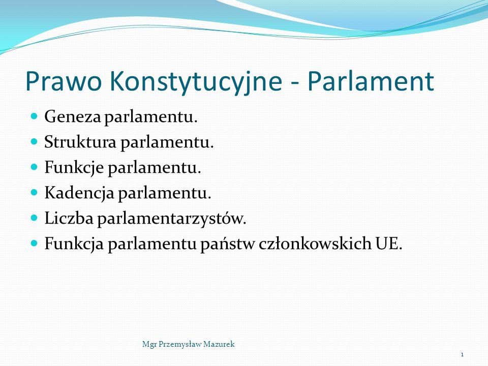 Prawo Konstytucyjne - Parlament Geneza parlamentu. Struktura parlamentu. Funkcje parlamentu. Kadencja parlamentu. Liczba parlamentarzystów. Funkcja pa
