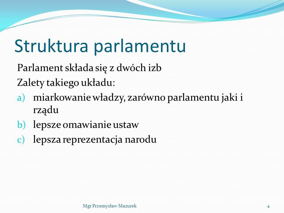Struktura parlamentu Parlament składa się z dwóch izb Zalety takiego układu: a) miarkowanie władzy, zarówno parlamentu jaki i rządu b) lepsze omawiani