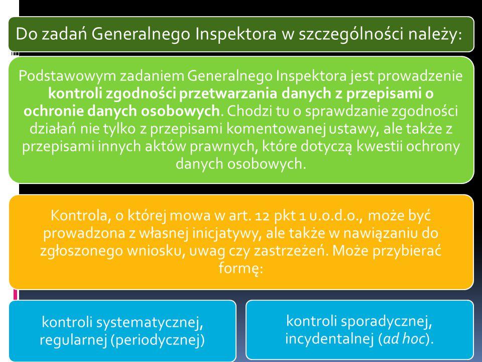Do zadań Generalnego Inspektora w szczególności należy: Podstawowym zadaniem Generalnego Inspektora jest prowadzenie kontroli zgodności przetwarzania