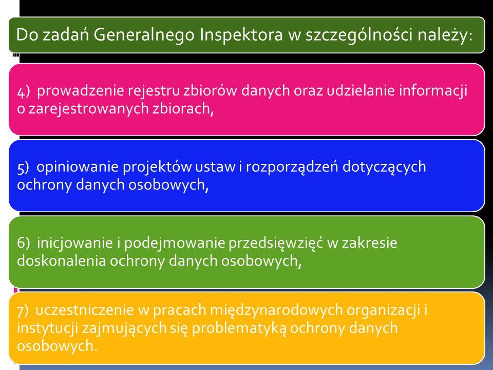Do zadań Generalnego Inspektora w szczególności należy: 4) prowadzenie rejestru zbiorów danych oraz udzielanie informacji o zarejestrowanych zbiorach,