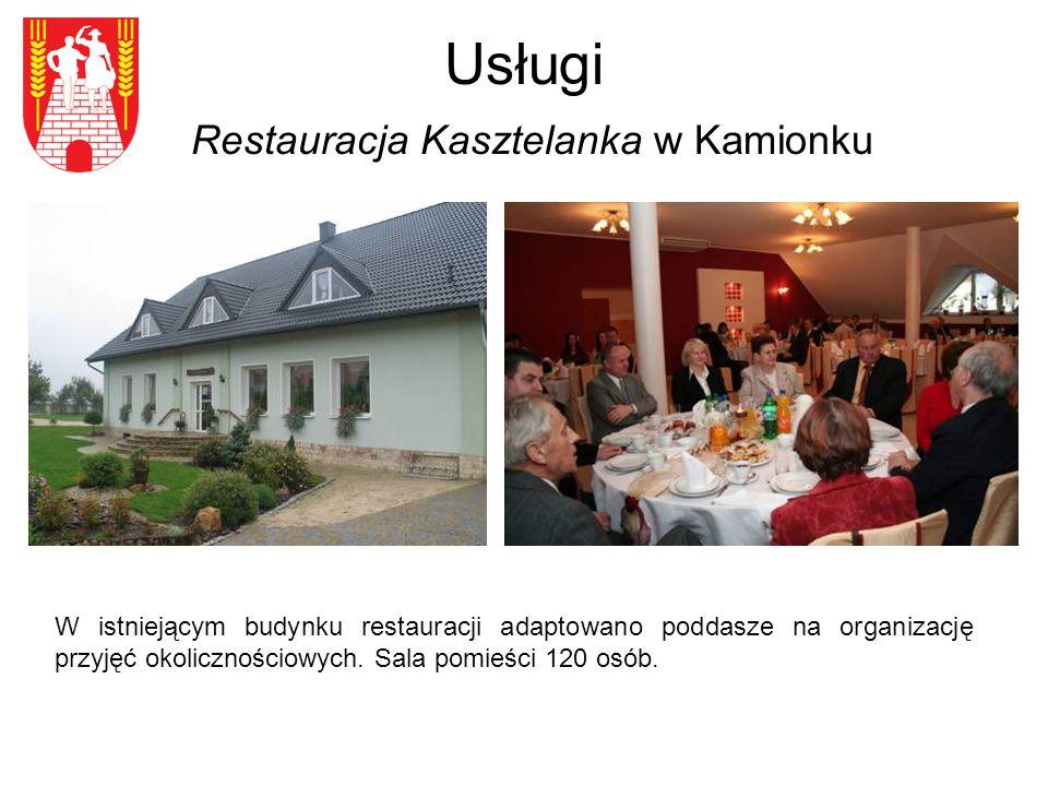 Usługi Restauracja Kasztelanka w Kamionku W istniejącym budynku restauracji adaptowano poddasze na organizację przyjęć okolicznościowych.