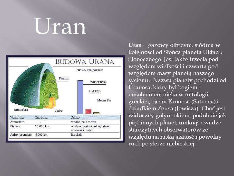 Uran Uran − gazowy olbrzym, siódma w kolejności od Słońca planeta Układu Słonecznego. Jest także trzecią pod względem wielkości i czwartą pod względem