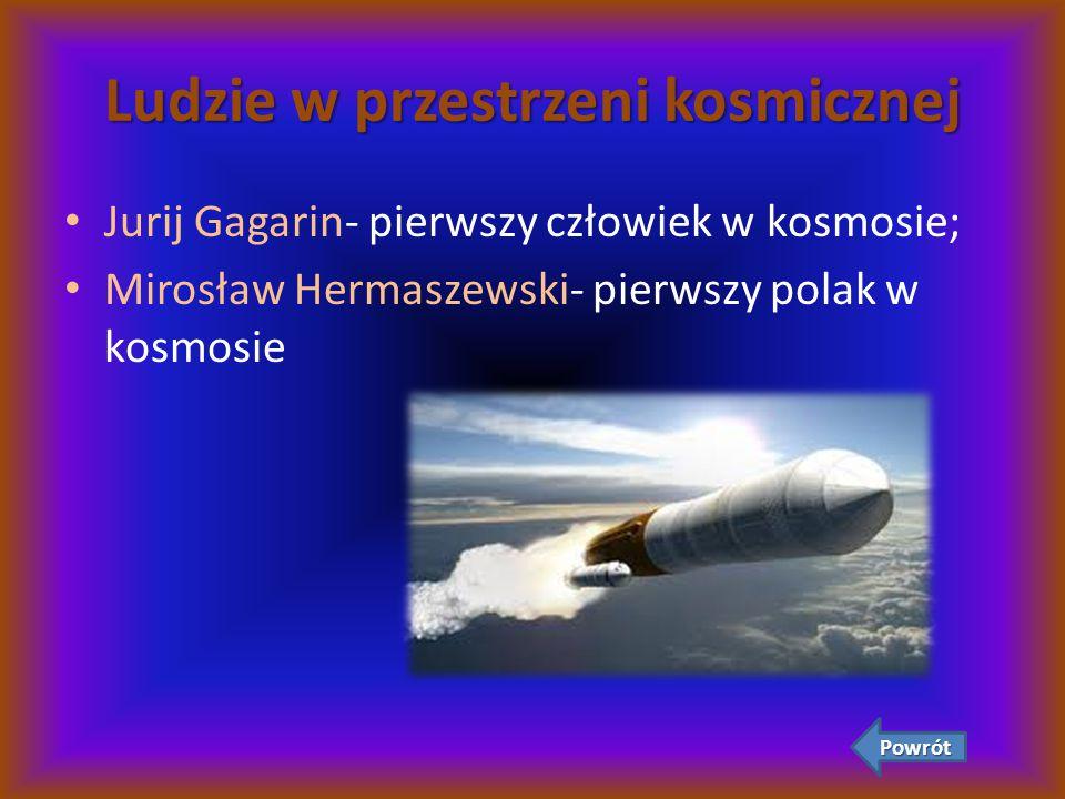 Ludzie w przestrzeni kosmicznej Jurij Gagarin- pierwszy człowiek w kosmosie; Mirosław Hermaszewski- pierwszy polak w kosmosie Powrót