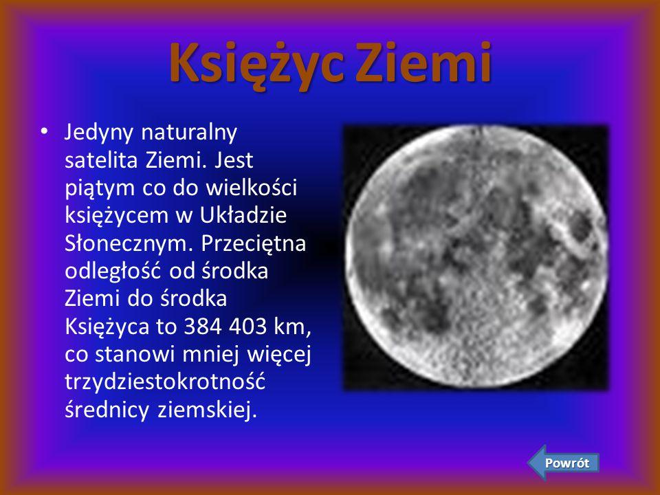 Księżyc Ziemi Jedyny naturalny satelita Ziemi. Jest piątym co do wielkości księżycem w Układzie Słonecznym. Przeciętna odległość od środka Ziemi do śr