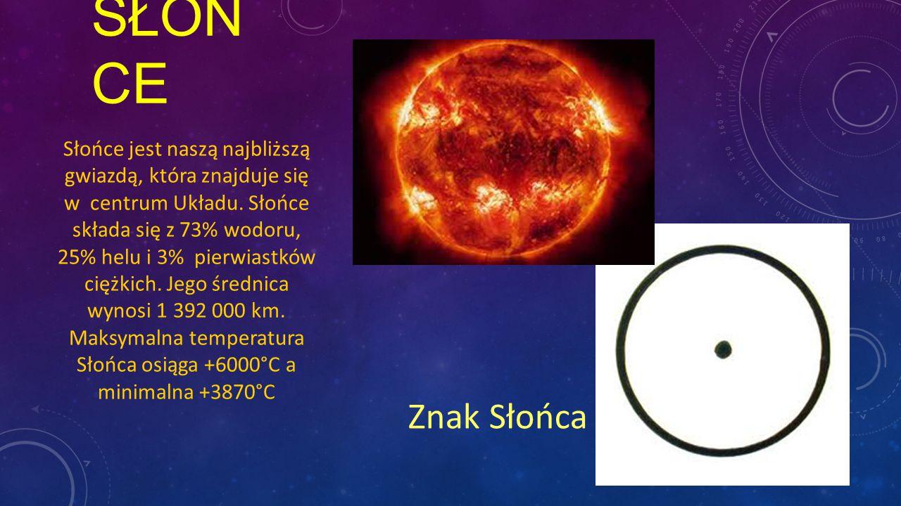 SŁOŃ CE Słońce jest naszą najbliższą gwiazdą, która znajduje się w centrum Układu. Słońce składa się z 73% wodoru, 25% helu i 3% pierwiastków ciężkich