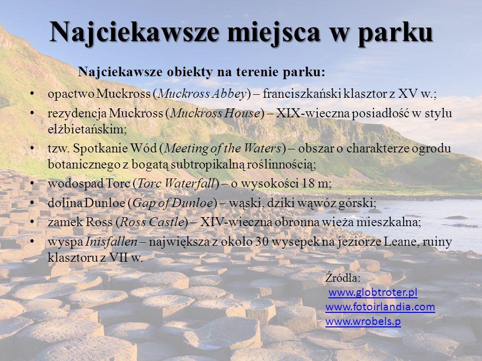 Najciekawsze miejsca w parku Najciekawsze obiekty na terenie parku: opactwo Muckross (Muckross Abbey) – franciszkański klasztor z XV w.; rezydencja Muckross (Muckross House) – XIX-wieczna posiadłość w stylu elżbietańskim; tzw.