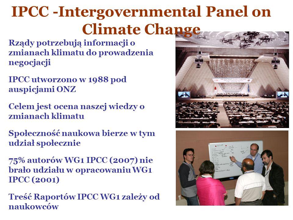 Rządy potrzebują informacji o zmianach klimatu do prowadzenia negocjacji IPCC utworzono w 1988 pod auspicjami ONZ Celem jest ocena naszej wiedzy o zmi