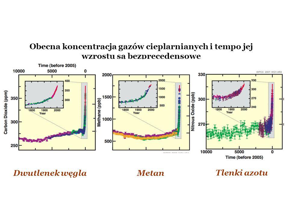 Obecna koncentracja gazów cieplarnianych i tempo jej wzrostu są bezprecedensowe Dwutlenek węglaMetan Tlenki azotu