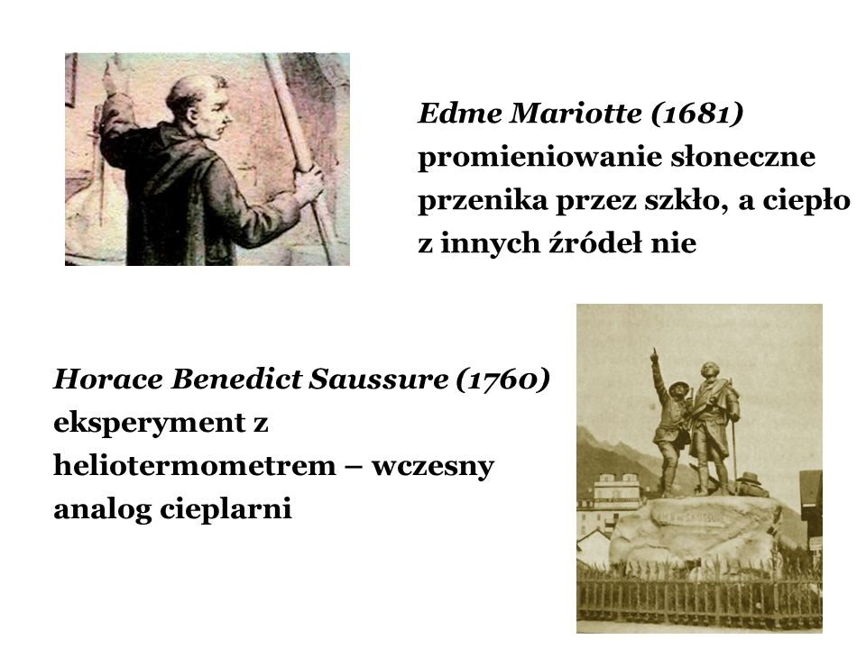 Edme Mariotte (1681) promieniowanie słoneczne przenika przez szkło, a ciepło z innych źródeł nie Horace Benedict Saussure (1760) eksperyment z heliote