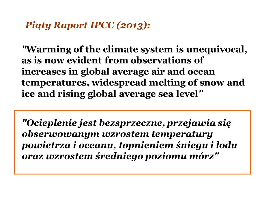 Piąty Raport IPCC (2013):