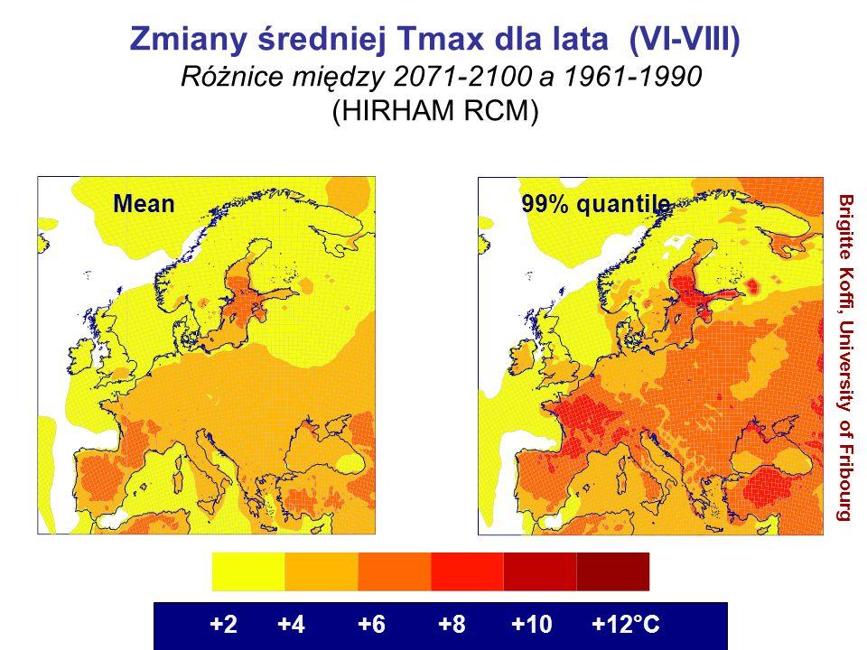 Mean 99% quantile +2 +4 +6 +8 +10 +12°C Brigitte Koffi, University of Fribourg Zmiany średniej Tmax dla lata (VI-VIII) (Różnice między 2071-2100 a 196