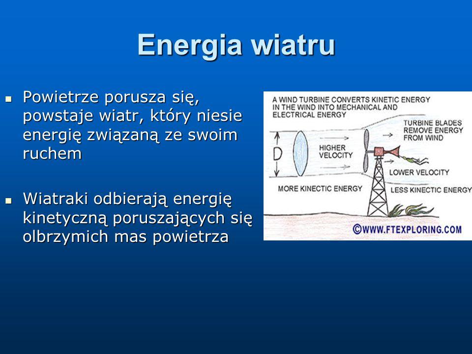 Energia wiatru Powietrze porusza się, powstaje wiatr, który niesie energię związaną ze swoim ruchem Powietrze porusza się, powstaje wiatr, który niesie energię związaną ze swoim ruchem Wiatraki odbierają energię kinetyczną poruszających się olbrzymich mas powietrza Wiatraki odbierają energię kinetyczną poruszających się olbrzymich mas powietrza