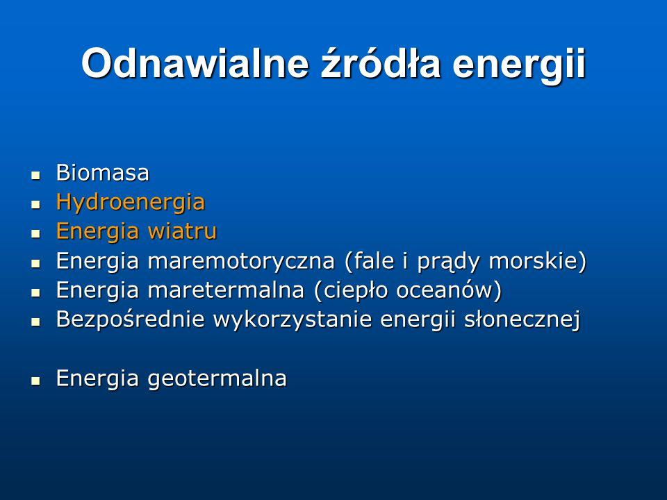 Odnawialne źródła energii Biomasa Biomasa Hydroenergia Hydroenergia Energia wiatru Energia wiatru Energia maremotoryczna (fale i prądy morskie) Energia maremotoryczna (fale i prądy morskie) Energia maretermalna (ciepło oceanów) Energia maretermalna (ciepło oceanów) Bezpośrednie wykorzystanie energii słonecznej Bezpośrednie wykorzystanie energii słonecznej Energia geotermalna Energia geotermalna