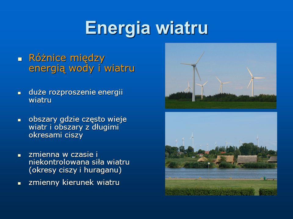 Energia wiatru Różnice między energią wody i wiatru Różnice między energią wody i wiatru duże rozproszenie energii wiatru duże rozproszenie energii wiatru obszary gdzie często wieje wiatr i obszary z długimi okresami ciszy obszary gdzie często wieje wiatr i obszary z długimi okresami ciszy zmienna w czasie i niekontrolowana siła wiatru (okresy ciszy i huraganu) zmienna w czasie i niekontrolowana siła wiatru (okresy ciszy i huraganu) zmienny kierunek wiatru zmienny kierunek wiatru