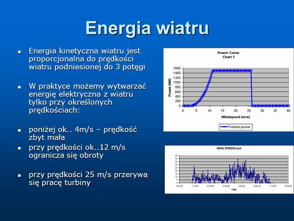 Energia wiatru Energia kinetyczna wiatru jest proporcjonalna do prędkości wiatru podniesionej do 3 potęgi Energia kinetyczna wiatru jest proporcjonalna do prędkości wiatru podniesionej do 3 potęgi W praktyce możemy wytwarzać energię elektryczna z wiatru tylko przy określonych prędkościach: W praktyce możemy wytwarzać energię elektryczna z wiatru tylko przy określonych prędkościach: poniżej ok..