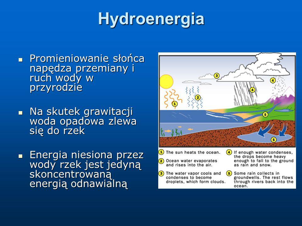 Hydroenergia Promieniowanie słońca napędza przemiany i ruch wody w przyrodzie Promieniowanie słońca napędza przemiany i ruch wody w przyrodzie Na skutek grawitacji woda opadowa zlewa się do rzek Na skutek grawitacji woda opadowa zlewa się do rzek Energia niesiona przez wody rzek jest jedyną skoncentrowaną energią odnawialną Energia niesiona przez wody rzek jest jedyną skoncentrowaną energią odnawialną