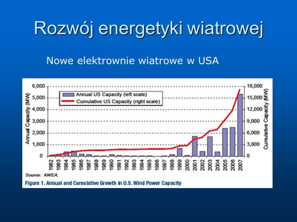 Rozwój energetyki wiatrowej Nowe elektrownie wiatrowe w USA