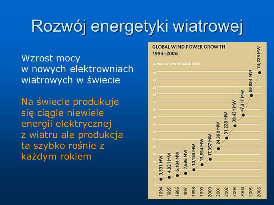 Rozwój energetyki wiatrowej Wzrost mocy w nowych elektrowniach wiatrowych w świecie Na świecie produkuje się ciągle niewiele energii elektrycznej z wiatru ale produkcja ta szybko rośnie z każdym rokiem