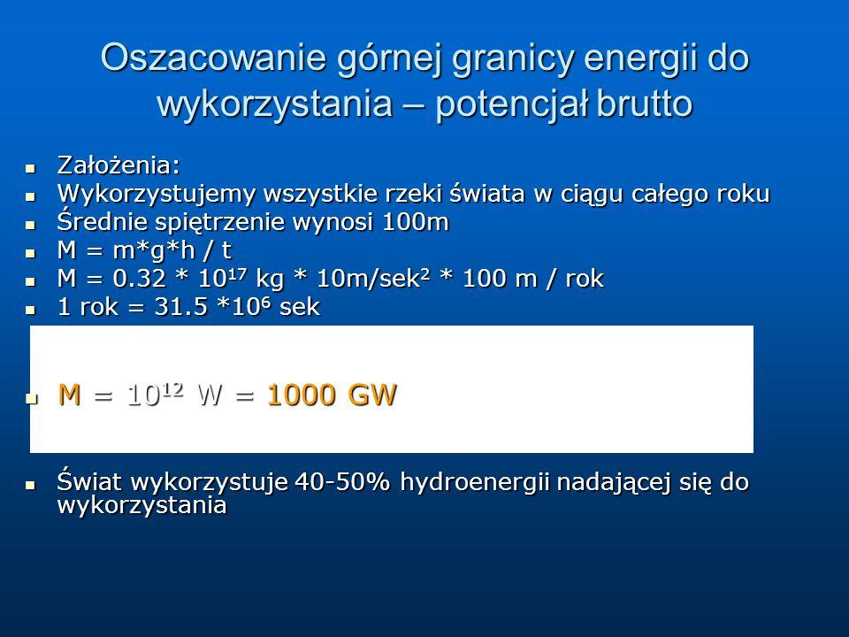 Oszacowanie górnej granicy energii do wykorzystania – potencjał brutto Założenia: Założenia: Wykorzystujemy wszystkie rzeki świata w ciągu całego roku Wykorzystujemy wszystkie rzeki świata w ciągu całego roku Średnie spiętrzenie wynosi 100m Średnie spiętrzenie wynosi 100m M = m*g*h / t M = m*g*h / t M = 0.32 * 10 17 kg * 10m/sek 2 * 100 m / rok M = 0.32 * 10 17 kg * 10m/sek 2 * 100 m / rok 1 rok = 31.5 *10 6 sek 1 rok = 31.5 *10 6 sek M = 10 12 W = 1000 GW M = 10 12 W = 1000 GW Świat wykorzystuje 40-50% hydroenergii nadającej się do wykorzystania Świat wykorzystuje 40-50% hydroenergii nadającej się do wykorzystania