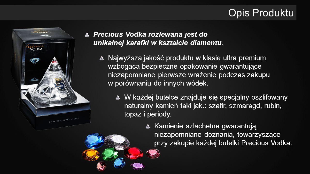 Precious Vodka rozlewana jest do unikalnej karafki w kształcie diamentu. Opis Produktu W każdej butelce znajduje się specjalny oszlifowany naturalny k