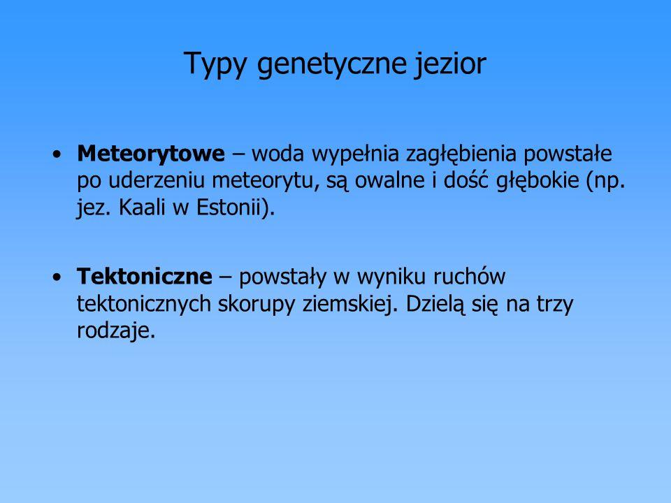 Typy genetyczne jezior Meteorytowe – woda wypełnia zagłębienia powstałe po uderzeniu meteorytu, są owalne i dość głębokie (np. jez. Kaali w Estonii).