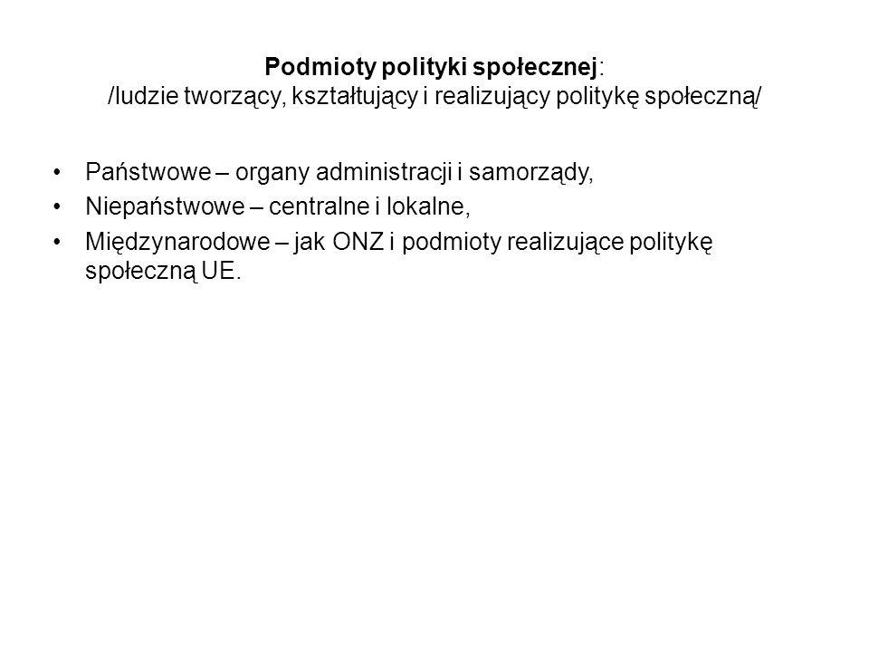 Podmioty polityki społecznej: /ludzie tworzący, kształtujący i realizujący politykę społeczną/ Państwowe – organy administracji i samorządy, Niepaństw