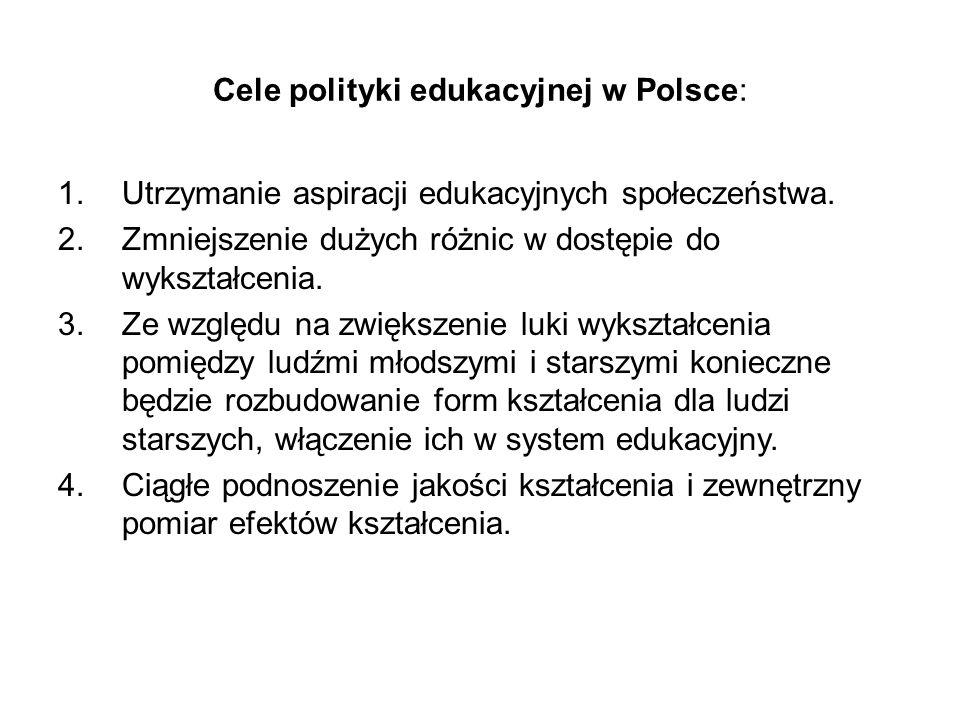 Cele polityki edukacyjnej w Polsce: 1.Utrzymanie aspiracji edukacyjnych społeczeństwa. 2.Zmniejszenie dużych różnic w dostępie do wykształcenia. 3.Ze