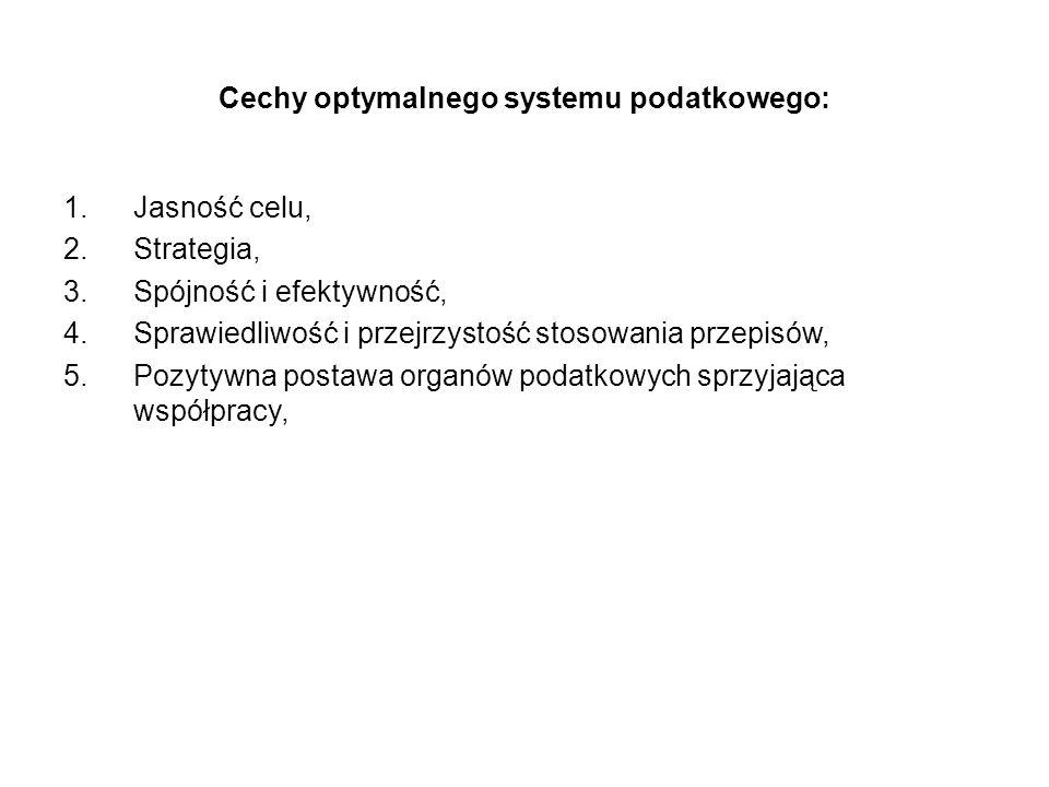 Cechy optymalnego systemu podatkowego: 1.Jasność celu, 2.Strategia, 3.Spójność i efektywność, 4.Sprawiedliwość i przejrzystość stosowania przepisów, 5