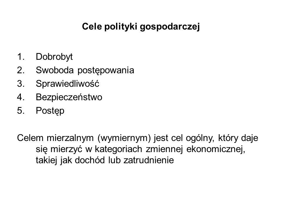 Cele polityki gospodarczej 1.Dobrobyt 2.Swoboda postępowania 3.Sprawiedliwość 4.Bezpieczeństwo 5.Postęp Celem mierzalnym (wymiernym) jest cel ogólny,