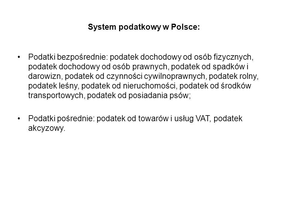 System podatkowy w Polsce: Podatki bezpośrednie: podatek dochodowy od osób fizycznych, podatek dochodowy od osób prawnych, podatek od spadków i darowi