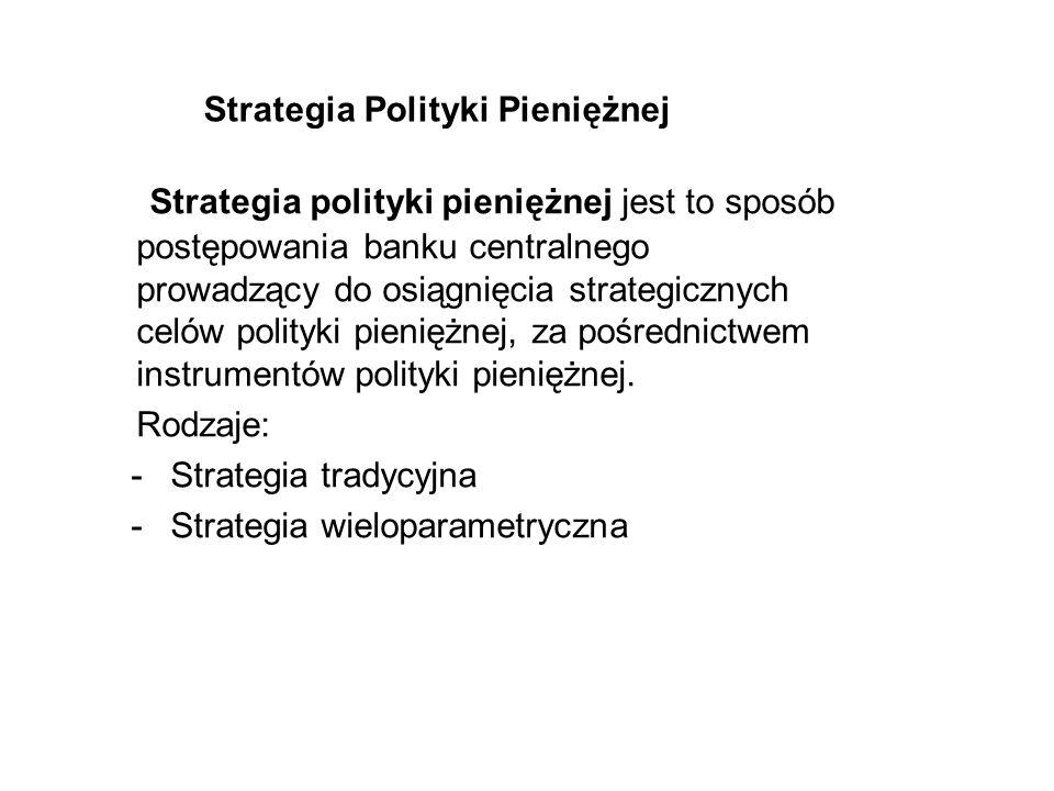 Strategia Polityki Pieniężnej Strategia polityki pieniężnej jest to sposób postępowania banku centralnego prowadzący do osiągnięcia strategicznych cel