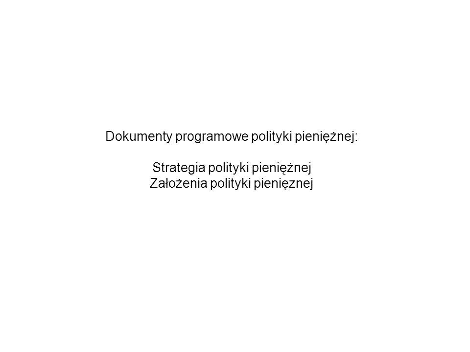 Dokumenty programowe polityki pieniężnej: Strategia polityki pieniężnej Założenia polityki pienięznej