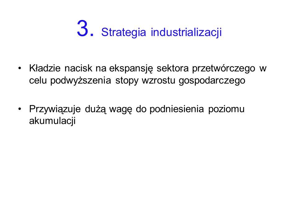 3. Strategia industrializacji Kładzie nacisk na ekspansję sektora przetwórczego w celu podwyższenia stopy wzrostu gospodarczego Przywiązuje dużą wagę