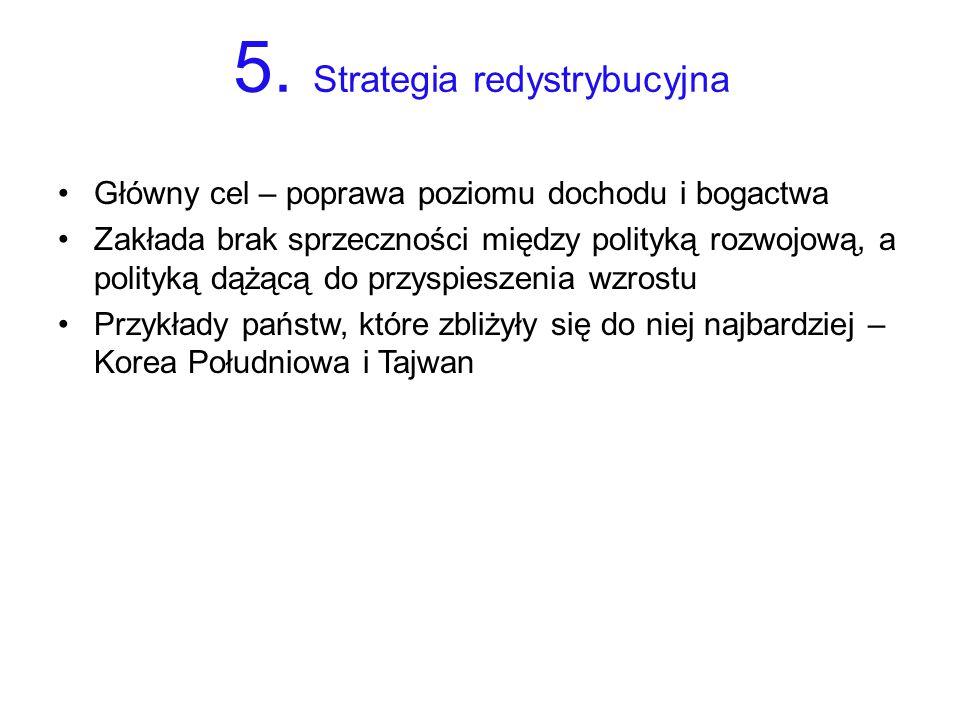 5. Strategia redystrybucyjna Główny cel – poprawa poziomu dochodu i bogactwa Zakłada brak sprzeczności między polityką rozwojową, a polityką dążącą do
